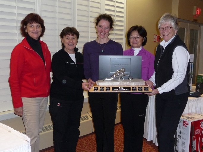 Linda Levesque,   (Skip) Jan Carwardine, (Vice) Judy Mackett, (Second) Mavis Taylor, (Lead) Debbie Baker  from the Leaside Curling Club